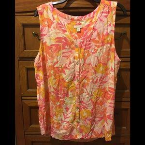 J.Jill pink/orange floral sleeveless blouse